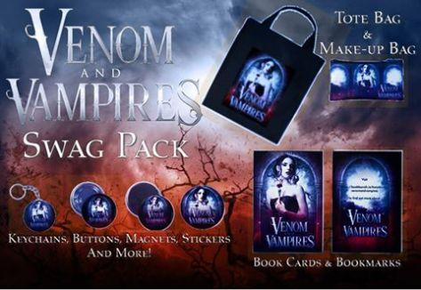 Venom & Vampires swagpack. Original cover art by Rebecca Frank. Photos courtesy of Venom & Vampires.